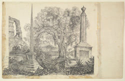 Cemetery showing the grave of Margaret Abbott surmounted by a column, Asirgarh